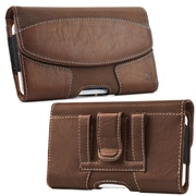 Insten Horizontal Suede Leather Style Pouch Cover with Belt Clip For Samsung Galaxy Note - Brown
