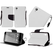 Insten PU Leather Flip Wallet Credit Card Stand Cover Case For HTC Desire 530 - White
