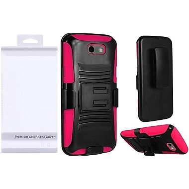 Insten Side Kickstand Hybrid Hard PC/Silicone Holster Clip Cover Case For Samsung Galaxy J3 (2017) - Black/Hot Pink