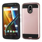 Insten Hard Hybrid TPU Cover Case For Motorola Moto G4 / G4 PLUS - Rose Gold/Black