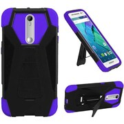 Insten Hard Hybrid Shockproof Plastic Silicone Cover Case with Stand For Motorola Moto X Style - Black/Purple