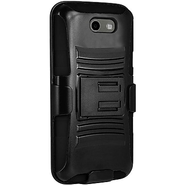 Insten Side Kickstand Hybrid Dual Layer Hard PC/Silicone Holster Clip Cover Case For Samsung Galaxy J3 (2017) - Black