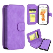 Insten Book-Style Leather Cover Case Zipper wallet w/stand/card slot/Photo Display For Apple iPhone 7 Plus - Purple
