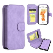 Insten Folio Leather Fabric Case Zipper wallet w/stand/card slot/Photo Display For Apple iPhone 7 Plus - Light Purple