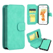 Insten Book-Style Leather Fabric Case Zipper wallet w/stand/card slot/Photo Display For Apple iPhone 7 Plus - Teal