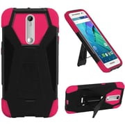 Insten Hard Hybrid Plastic Silicone Cover Case with Stand For Motorola Moto X Style - Black/Hot Pink