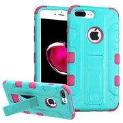 Insten Hard Dual Layer Silicone Cover Case w/stand/Holster For Apple iPhone 7 Plus - Teal/Pink