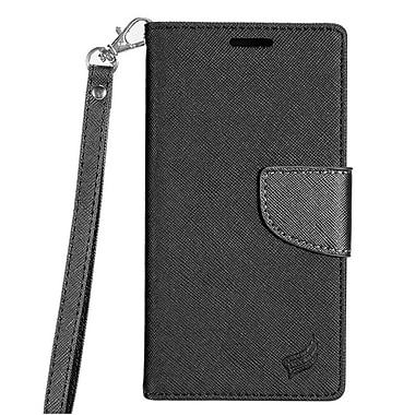 Insten Flip Leather Fabric Case Lanyard w/stand/card holder For Samsung Galaxy J7 - Black