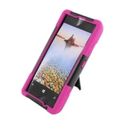 Insten Hard Dual Layer Plastic Silicone Case with stand for Nokia Lumia 521 - Black/Hot Pink