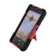 Insten Hard Hybrid Plastic Silicone Case with stand for Nokia Lumia 521 - Red/Black