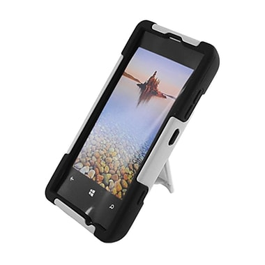 Insten Hard Dual Layer Plastic Silicone Case with stand for Nokia Lumia 521 - White/Black