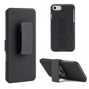 Insten Hard Rubber Coated Case w/stand/Holster For Apple iPhone 7 - Black