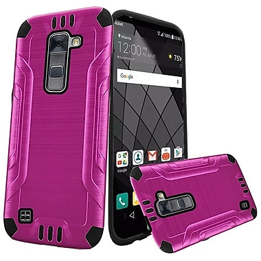 Insten Double Layer Hybrid Brushed Rugged Case Cover For LG Stylo 2 Plus - Hot Pink/Black