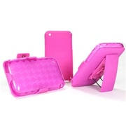 Insten Hard Hybrid Rubber Coated Silicone Cover Case w/Holster For Apple iPhone 3G / 3GS - Hot Pink