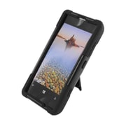 Insten Hard Dual Layer Plastic Silicone Case with stand for Nokia Lumia 521 - Black