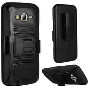 Insten Hard Hybrid Plastic Silicone Stand with Holster For Samsung Galaxy J7 (2015) - Black