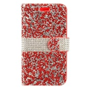 Insten Diamond Bling PU Leather Flip Wallet Pouch Card Stand Case Cover For ZTE Grand X 4 - Red/Silver