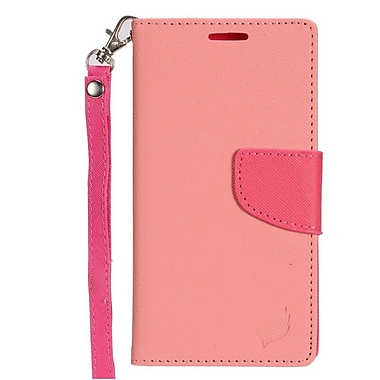 Insten Book-Style Leather Fabric Case Lanyard w/stand/card holder For Samsung Galaxy J7 - Pink/Hot Pink