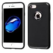 Insten Leather Texture Hybrid Frame Hard TPU Cover Back Case For Apple iPhone 7 - Black Frame/Black
