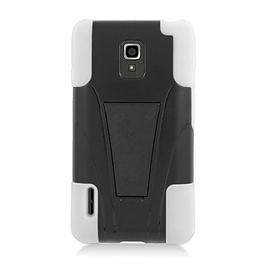 Insten Hard Hybrid Plastic Silicone Case with stand for LG Optimus F7 US780 (US Cellular) - Black/White