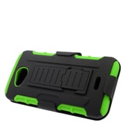 Insten Stand Dual Layer Hybrid Case with Holster For Kyocera Hydro Wave - Black/Green