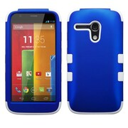 Insten Titanium Dark Blue/Solid White TUFF Hybrid Hard Shockproof Protective Case Cover For Motorola Moto G