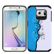 Insten Vines Hard Hybrid Rubberized Silicone Case For Samsung Galaxy S7 - Blue/White