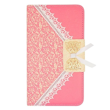 Insten Leather Wallet Cover Case with card slot For Samsung Galaxy Note Edge - Hot Pink/Gold
