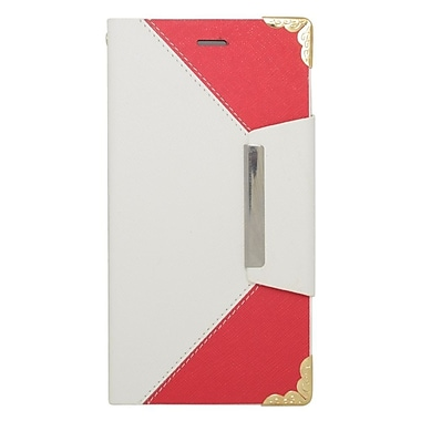 Insten Flip Leather Case with Card holder For Apple iPhone 6s Plus / 6 Plus - White/Red