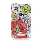 Insten Flowers Hard Diamante Case For Nokia Lumia 925 - Red/Green