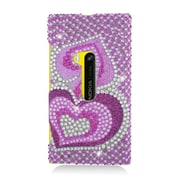 Insten Hearts Hard Diamante Case For Nokia Lumia 920 - Hot Pink