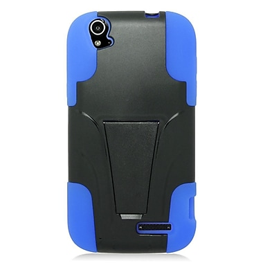 Insten Hard Hybrid Plastic Silicone Cover Case w/stand For ZTE Grand X - Black/Blue