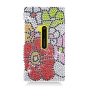 Insten Flowers Hard Rhinestone Cover Case For Nokia Lumia 920 - Red/Green
