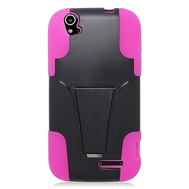 Insten Hard Dual Layer Plastic Silicone Case w/stand For ZTE Grand X - Black/Pink