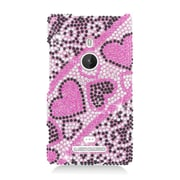 Insten Hearts Hard Full Diamond Bling Cover Case For Nokia Lumia 925 - Hot Pink