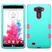 Insten Teal Green/Electric Pink TUFF Hybrid Hard Shockproof Silicone Dual Layer Protective Case Cover For LG G VISTA