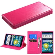Insten Hot Pink Leather Folio Flip Wallet Case with Credit Card Slot Stand For ZTE Grand X Max