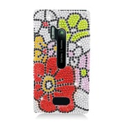 Insten Flowers Hard Bling Case For Nokia Lumia 928 - Red/Green