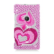 Insten Hearts Hard Bling Cover Case For Nokia Lumia 925 - Hot Pink