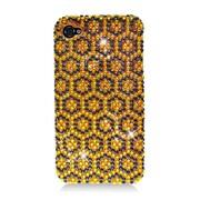 Insten Hexagon Hard Diamante Case For Apple iPhone 4/4S - Yellow/Black