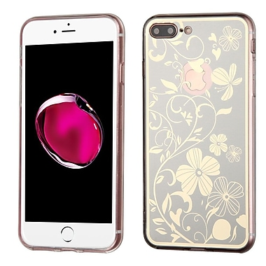 Insten Phoenix-tail Flowers Rubber Case For Apple iPhone 7 Plus - Silver/White