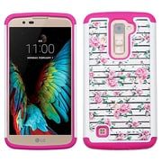 Insten Roses Hard Hybrid Rubber Silicone Cover Case w/Diamond For LG K10 - Pink/White