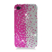 Insten Hard Bling Case For Apple iPhone 4/4S - Hot Pink/Silver
