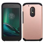 Insten Hard Hybrid Rubber Coated Silicone Case For Motorola Moto G4 Play - Rose Gold/Black