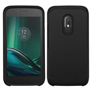 Insten Hard Dual Layer Rubberized Silicone Case For Motorola Moto G4 Play - Black