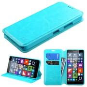 Insten Flip Leather Fabric Case w/stand/card slot For Microsoft Lumia 640 - Blue