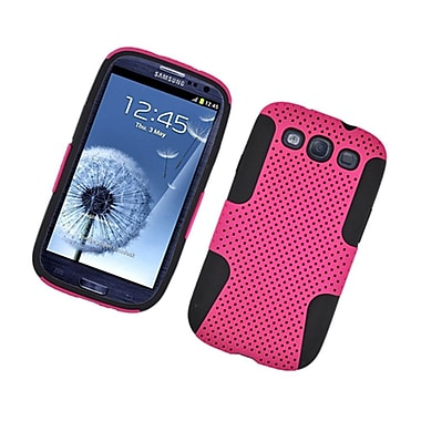 Insten TPU Rubber Hard PC Candy Skin Mesh Case Cover For Samsung Galaxy S3 - Hot Pink/Black