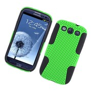 Insten TPU Rubber Hard PC Candy Skin Mesh Case Cover For Samsung Galaxy S3 - Green/Black