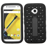Insten Symbiosis Skin Dual Layer Rubber Hard Case w/stand/Diamond For Motorola Moto E (2nd Gen 2015) - Black