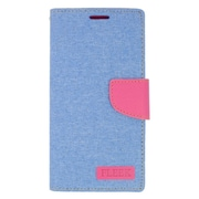 Insten Leather Wallet Case with Card slot & Photo Display For Samsung Galaxy S6 Edge Plus - Light Blue/Pink